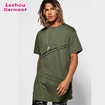 Fashion clothing 2017 long line green color men t shirt
