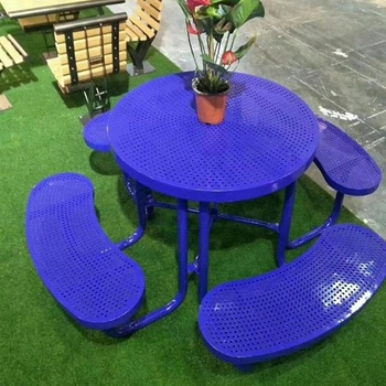 galvanized steel 4 seats round Garden Picnic Table for outdoor table Sets