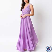 women clothing factory pleated long chiffon deep v neck prom dress
