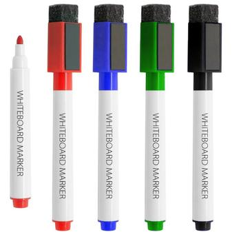 Dry eraser marker with magnet and eraser