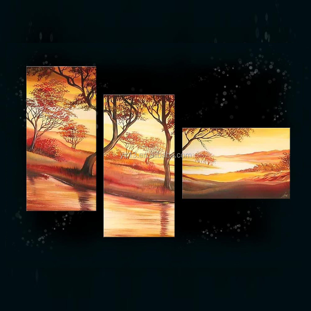 100%handmade beautiful flower group oil painting,3pcs panel african landscape oil painting