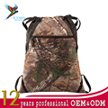 Wholesale camouflage Sports Travel Polyester Hiking drawstring bag with zipper