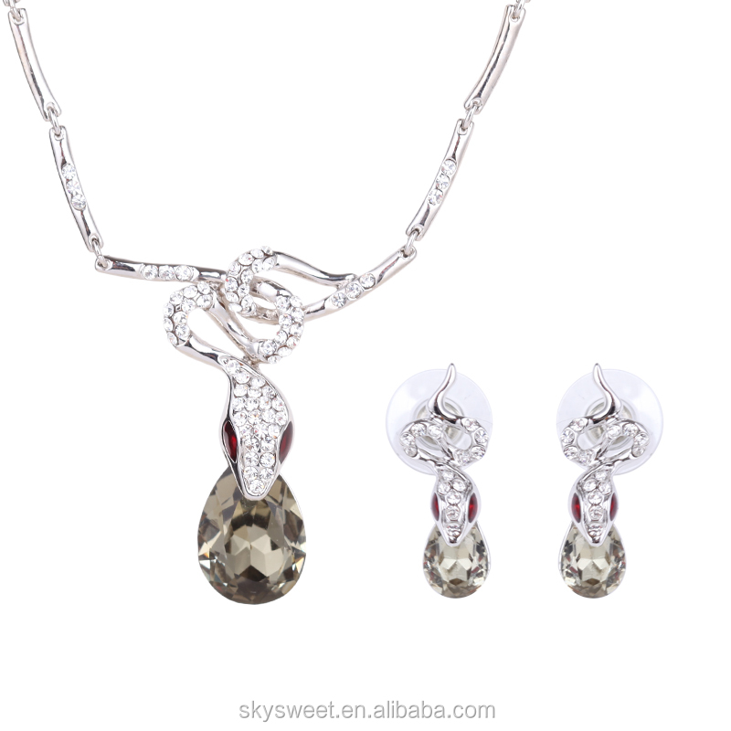 New fancy design snake biting drop shape diamond necklace and earring set,cheap silver jewelry set(PR834)