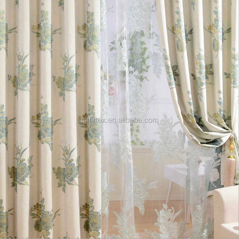 Ready made beautiful printed blackout curtain for living room