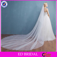 A16 Charming soft tulle classic pearl beaded wholesale price 3 meter wedding veil
