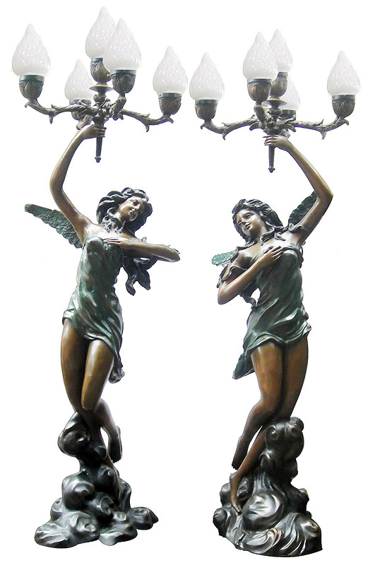 metal craft bronze lady sculpture lamps for home decoration