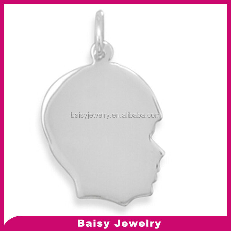 China factory custom engraved stainless steel boy Silhouette Charm