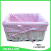 Natural wicker material white willow basket pink liner
