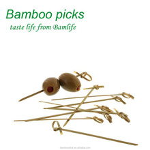 twisted end natural color bamboo knot picks length 12cm