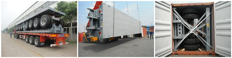 Cimc Huajun 3axle Lowbed Semi Trailer with Side Wall and Pillar