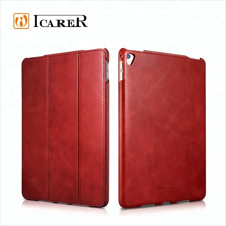 9.7 inch Tan Luxury Bespoke Folio Rugged Protective Sleeve Handmade Real Leather Cases Pouch With Stand For ipad Pro For Apple