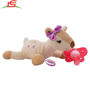 Pink Baby Toy Pacifier Teether Holder with Soft Plush Animal Deer