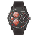 military sport watches relojes hombre PU strap waterproof dual time
