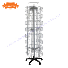 Wholesale collapsible metal wire rotating greeting cards holders spinner display racks on wheels for sale