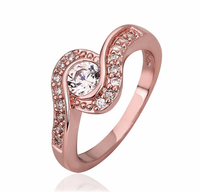 Stainless Steel Gold Big Crystal Engagement Ring Jewelry, Ring Zircon for Women