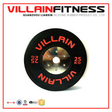 Solid Black Rubber Bumper Plates&Crossfit Barbell Weight Place