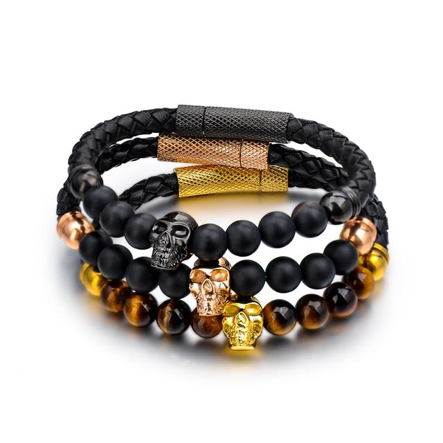 2018 Fashion Design Custom Marble Men Black Natural Lava Stone Skull Bead Bracelet