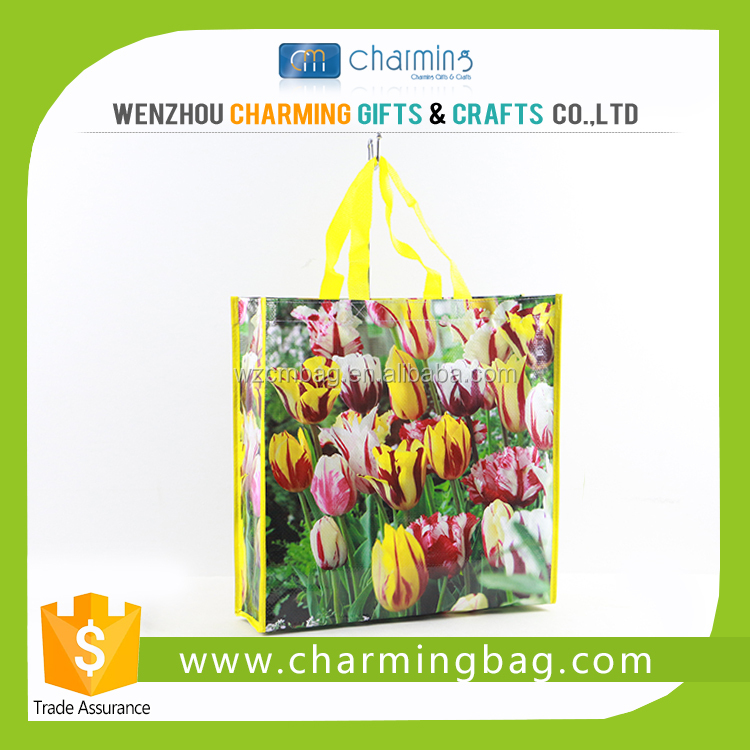 Reusable PP Woven Flower Shopping Bag