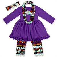 Bulk wholesale children's boutique clothing sets baby girl boutique ruffle long sleeve clothing sets