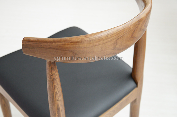 Black PU Unpolstered Rubber Wood Dining Chair