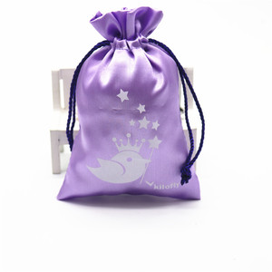 Cheap Small Purple Cute Satin Drawstring Bag Gift Wholesale For Hair Packaging