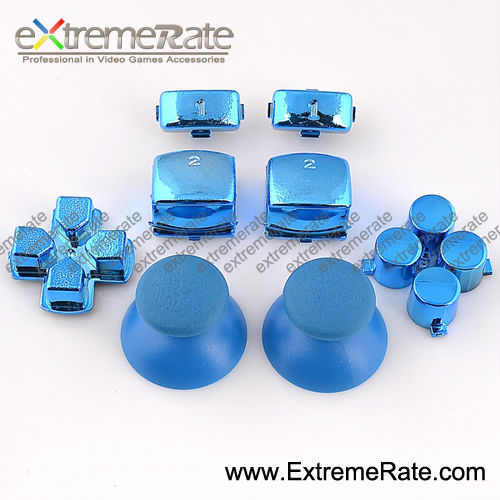 Wholesale Original Chrome Blue Repair Parts For PS3 Controller Buttons With Analog Stick Dpad ABXY Buttons