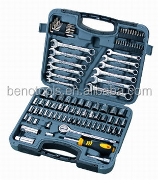 Motorcycle accessories with combination spanners hand tool set and socket set for homeowner with 101pcs