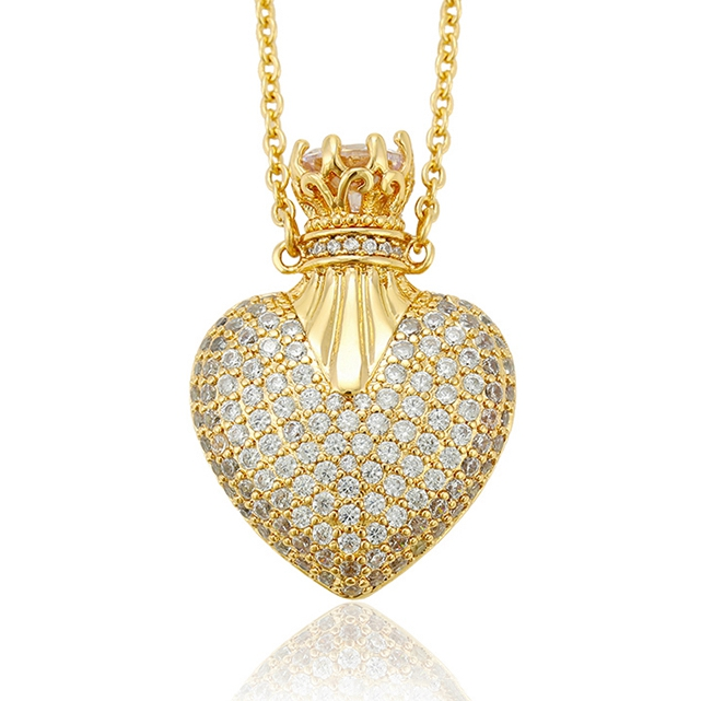 44253 Xuping crystal luxury plated 14k gold pendant necklace+female saudi gold crown heart locket necklace+pave diamond <strong>jewelry</strong>