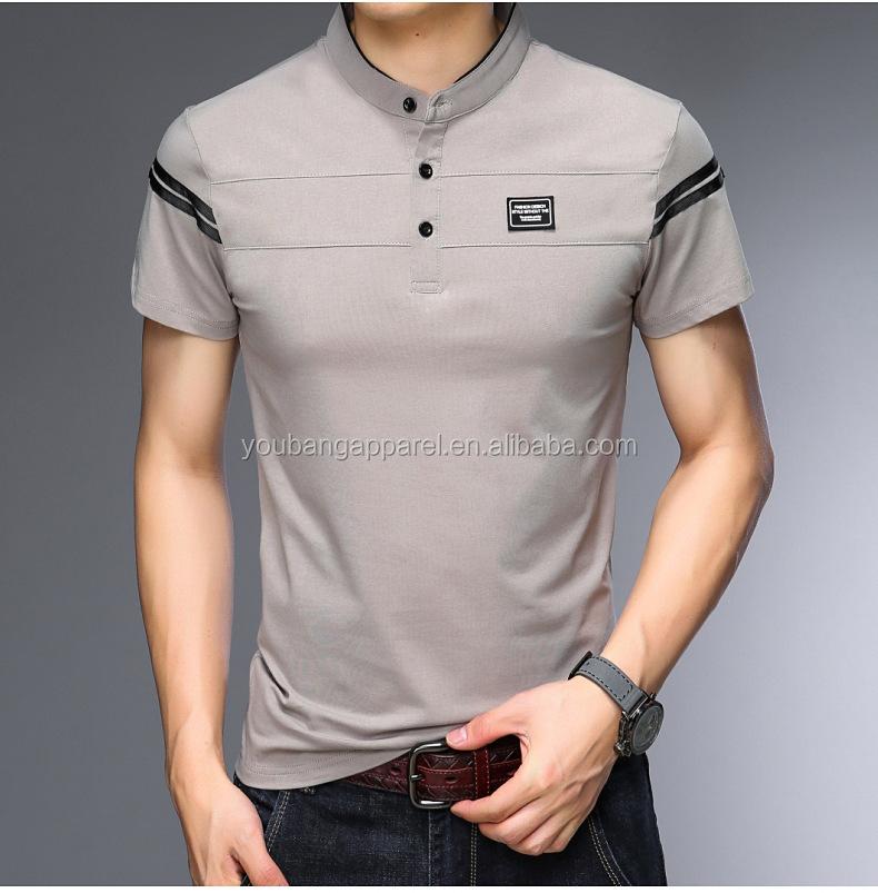 2019 summer o neck short stripe sleeves button up man classic t-shirt jersey sweatshirts polyester