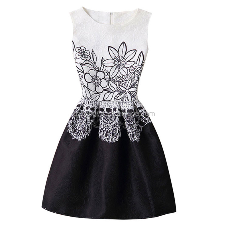 Latest hot selling women jacquard dresses patterns print vintage sleeveless party mini dresses