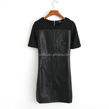 D0080 Promotion Price Bandage Women Dress Cheap Sexy Club Faux leather Dresses for Lady Party Dress