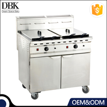 Big Capacity 2 TanK Double Basket Commercial Potato Chip Gas Deep Fryer With Cabinet
