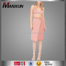 2017 Two Piece Of New Design Casual Women Short Spaghetti Strap Top Dress Sexy Draped Party Gown Tube Dress V-neck Pink Skirt