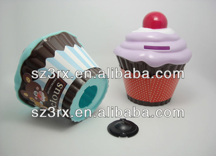 cake shape money box/plastic money saving box