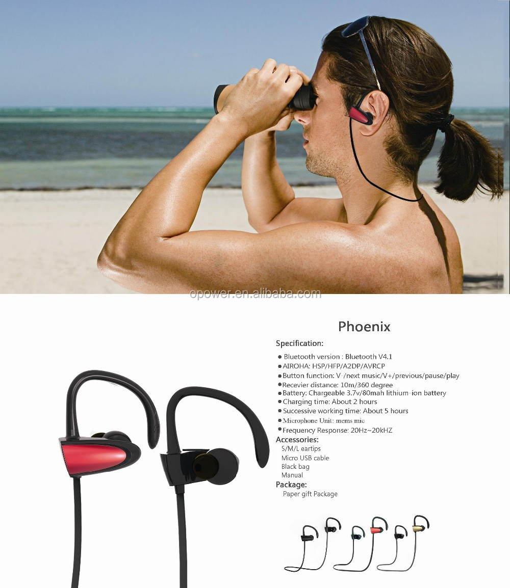 High Stereo Sound Sports Bluetooth V4.1 Wireless Earbuds with Mic for all iPhone and Android Cell Phone