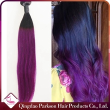 Hot Selling Virgin Peruvian Hair 1B And Purple Ombre Color Silky Straight Braiding Hair 100% Real Peruvian Human Hair