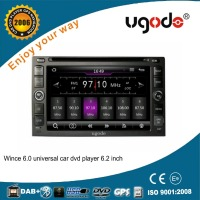 ugode wince 6.0 universal 6.2 inch double din car dvd player built in gps