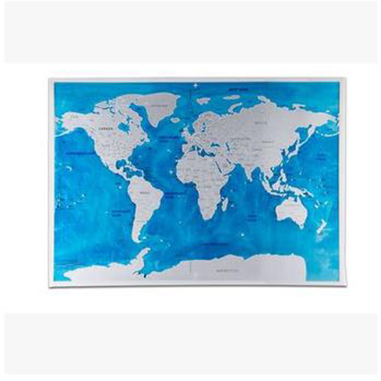 Personality PVC Custom Travel Souvenirs Scratch Sea World Edition Map