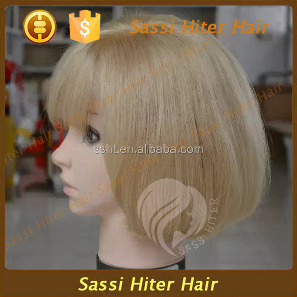 2016 Aliexpress Human Short Hair Super Remy Thin Skin Top Full Lace Wigs