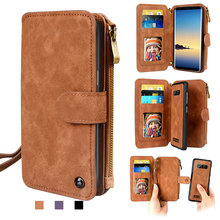 Leather Removable Flip Wallet Magnetic Card Holder Case Cover For iPhone/Samsung