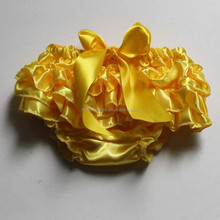 Hot Sale Yellow satin baby bloomer wholesale boutique baby ruffle diaper cover girls satin bloomers