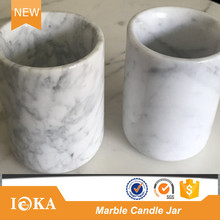 Carrara White Marble Candle Holder for Table Candle Jar Marble