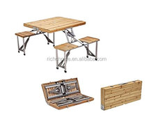 Portable Folding Wood Picnic Table with 4 Bench Seats