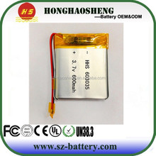Protected 603035 3.7v rechargeable li-ion polymer battery 600mah