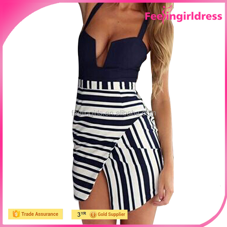 Front Opening Crossover Straps Backless High Thigh Slit Up Stripe Bodycon Dress