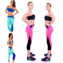 New Sexy Retro Totem Geometric Pattern Fluorescent Multi Color Printed Knee Lenth Cropped Capri Seamless Leggings For Wemon