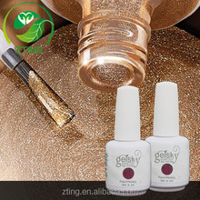 New arrival nail Art design, 2016 fasion UV gel polish, metal gold sand UV gel
