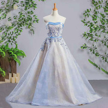 Pictures of Latest Gowns Designs Strapless Ice Blue A Line Beaded Floor Length Lace Lady Evening Dress