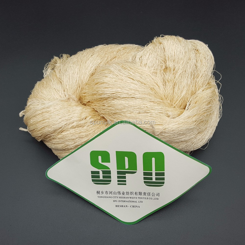 China 100% mulberry spun silk yarn ,tussar silk yarn120nm/2 for garment fabric and islam clothing, from SPO,ZheJiang
