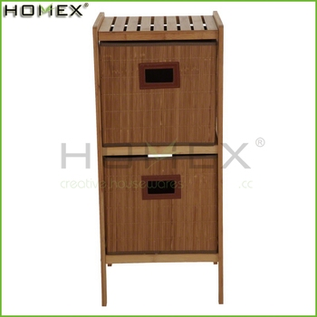 2-Drawer Bamboo Open Frame Bathroom Cabinet Homex-BSCI Factory